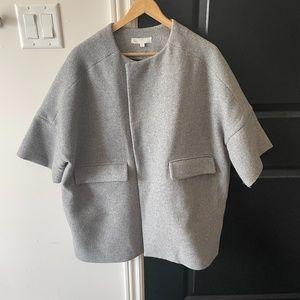 b+ab Gray  3/4 sleeve long wool coat oversized